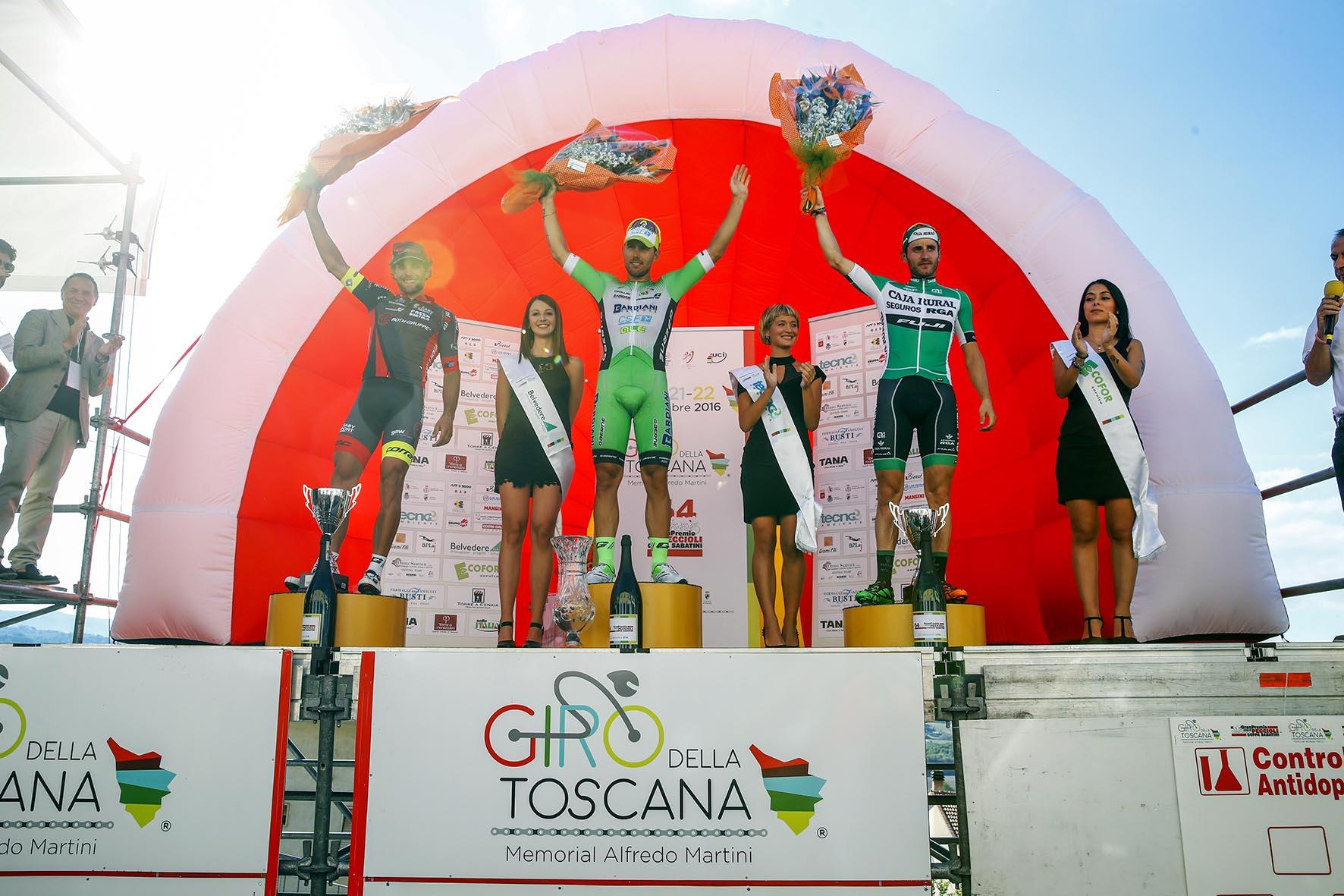 Coppa Sabatini 2016 - Peccioli - Peccioli 195,8 km - 22/09/2016 - Sonny Colbrelli (Bardiani - CSF) - Andrea Pasqualon (Team Roth) - Carlos Barbero (Caja Rural - Seguros RGA) - foto Luca Bettini/BettiniPhoto©2016